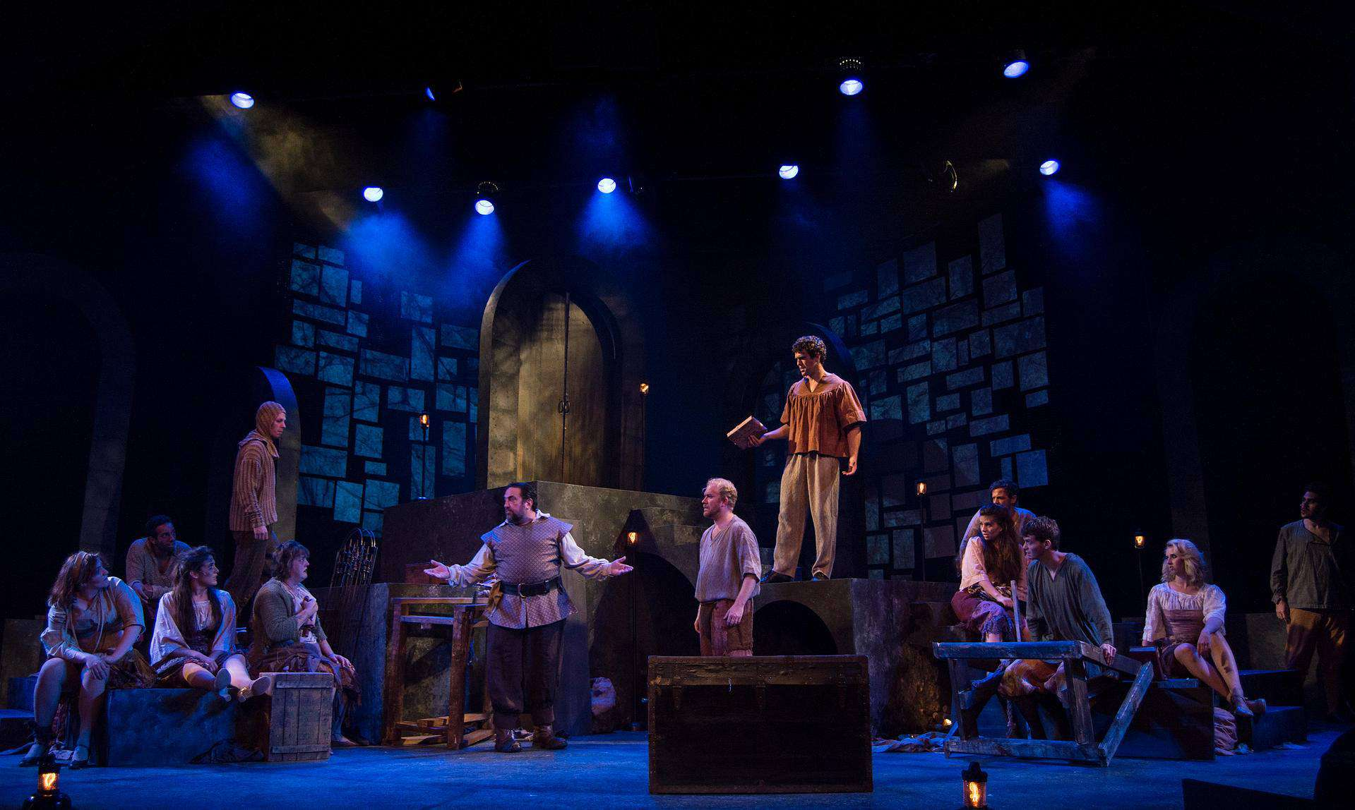 Man of La Mancha. Jean's Playhouse. Stone texture was projected onto the floating bricks in the air. The texture varied scene to scene, and often became something else entirely.