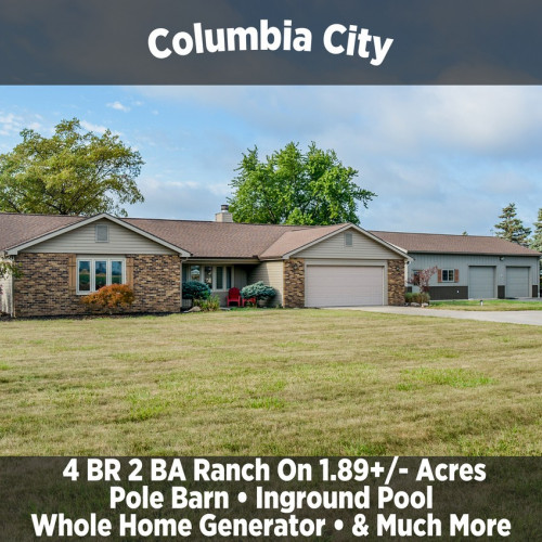 Beautiful 4 Bedroom 2 Bathroom Ranch on 1.89+/- Acres in Columbia City