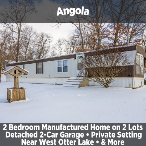 2 Bedroom Manufactured Home on 2 lots w/ Spacious 2-Car Detached Garage