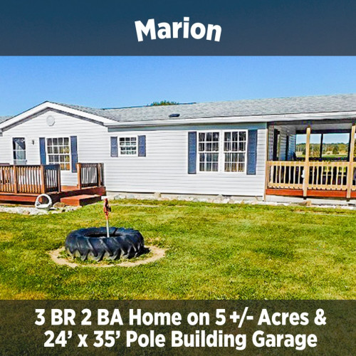 3 Bedroom 2 Bathroom Home on 5+/- Acres in Marion, IN