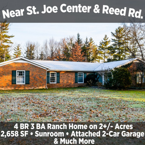 4 Bedroom 3 Bathroom Ranch Home on 2+/- Acres Near St. Joe Center & Reed Rd.
