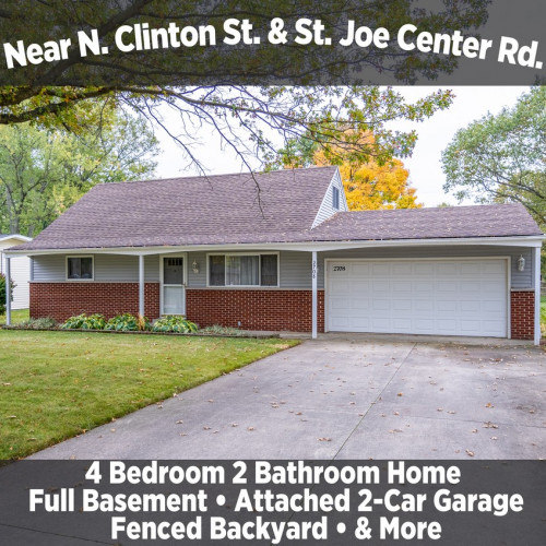 Beautiful 4 Bedroom 2 Bathroom Home Near N. Clinton St. & St. Joe Center Rd.