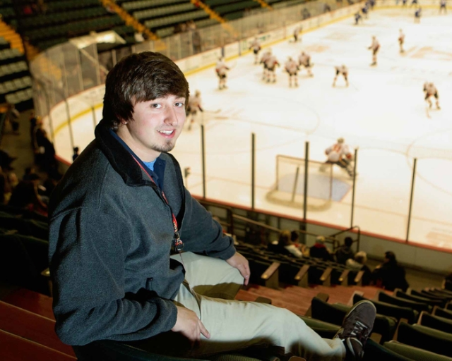 Tucker Kozloski, Media Arts intern with the Adirondack Flames hockey team, class of 2015