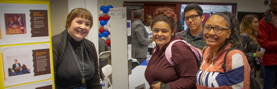 students visit career fair booth