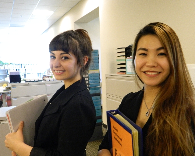 SRJC Student Employees Corinna (Transfer Center) and Kyla (Student Employment)
