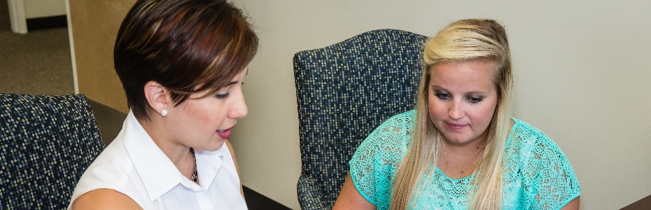 Melissa Arwen Parris, Career Services Coordinator, helping a student
