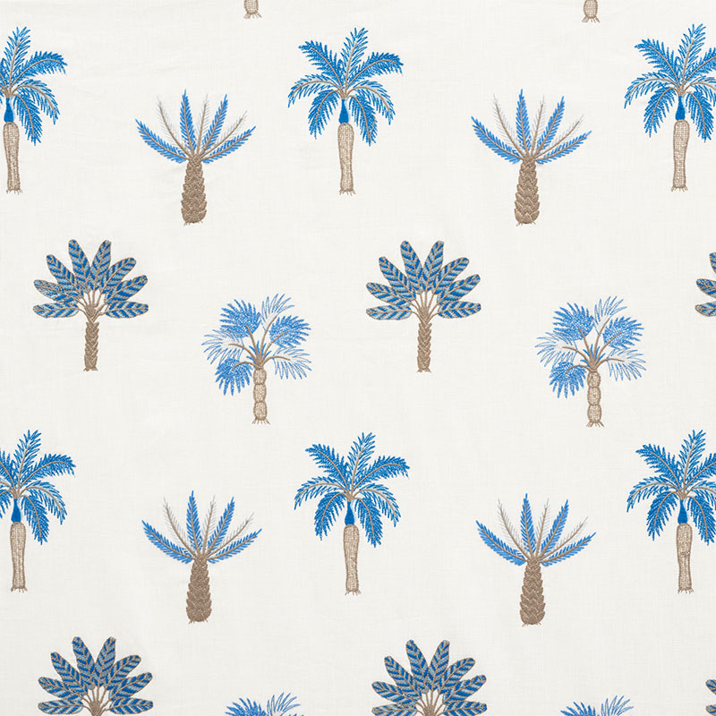 schumacher palmetto beach embroidery blue