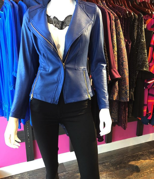 Clara Sunwoo Liquid Leather Jacket Blue