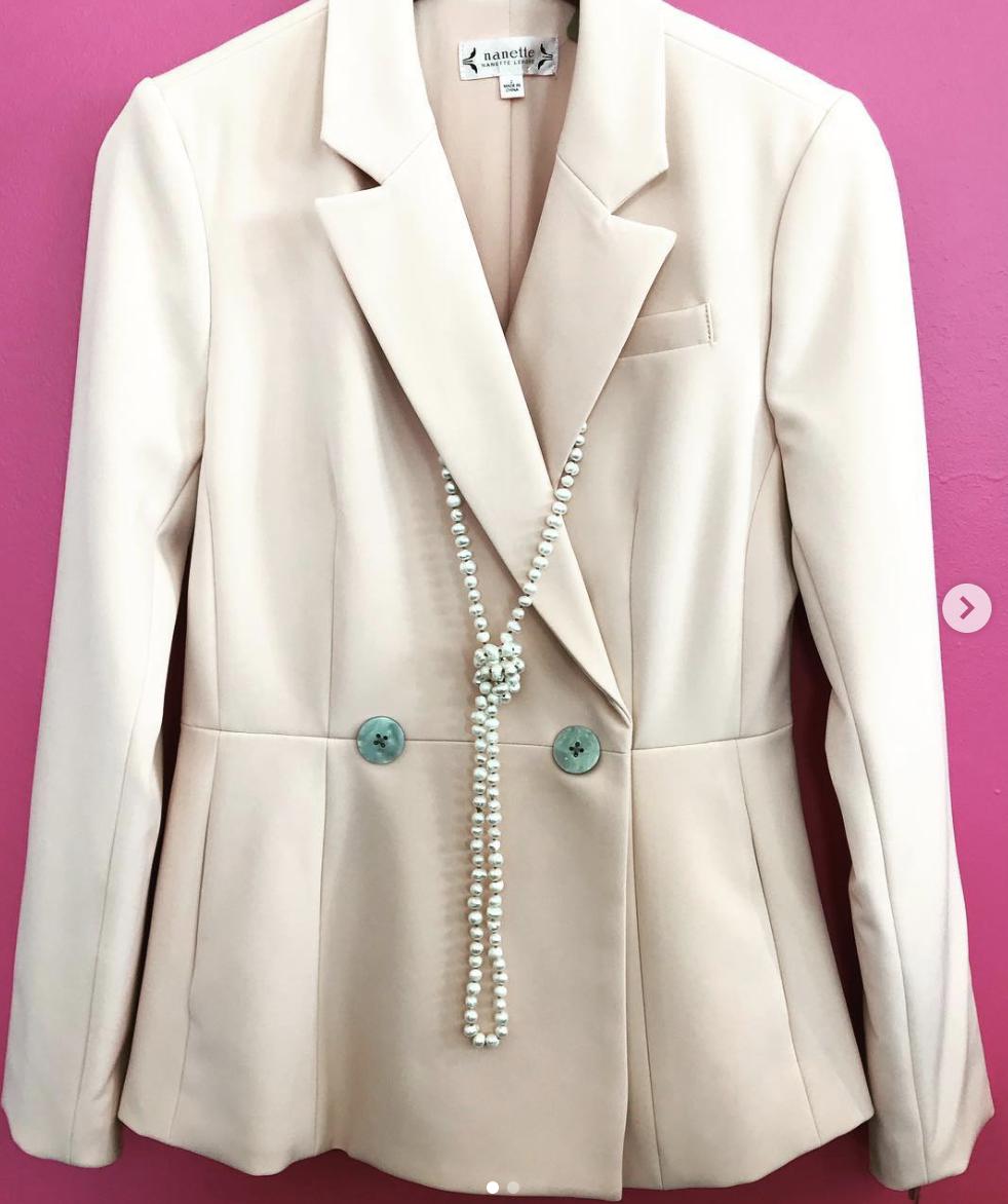 Nanette Lepore Peach Suit with ric rac trim