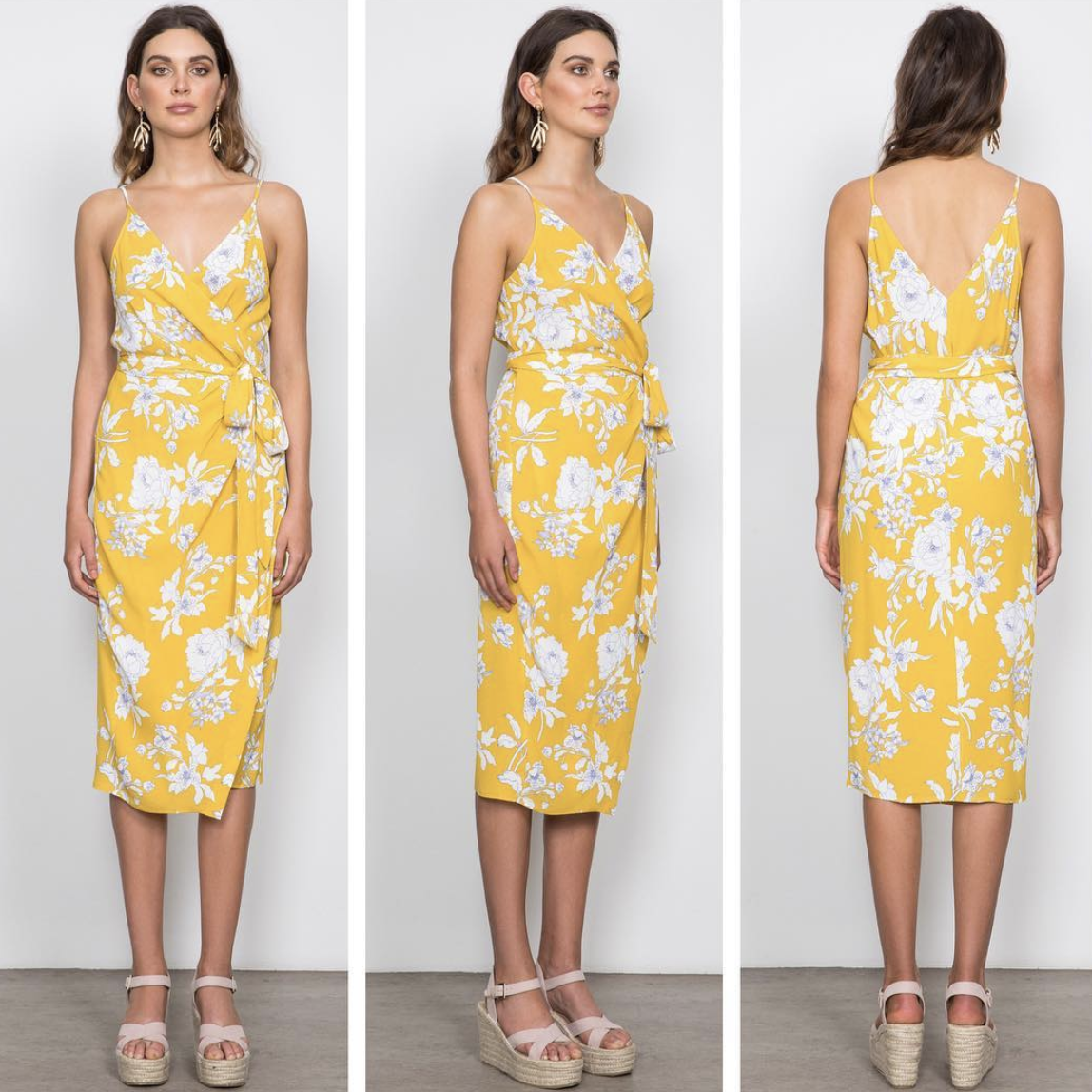 Wish The Label Yellow Floral Pattern Dress