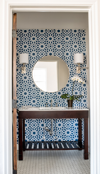 Geometric wallpaper oryx mirror swinging wall sconce half bath scout and nimble