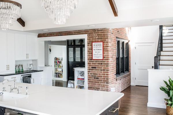 White caesarstone countertop red brick kitchen scout and nimble