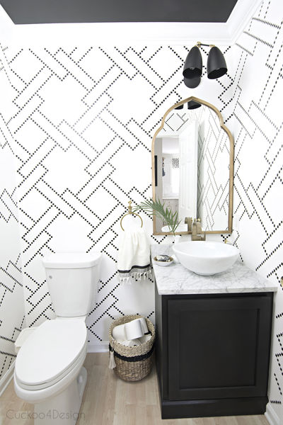 Black white and gold powder room with sharpie stenciled walls0540