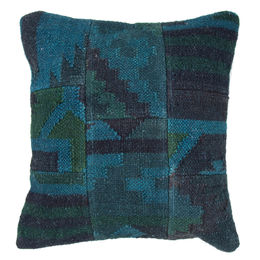 "Traditional Textural Pattern Caribbean Blue Wool & Jute pillow - BD08 (18""x18"")"