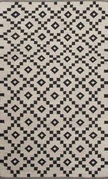 Flat-Weave Durable Wool Ivory/Black Area Rug ( 5X8 )