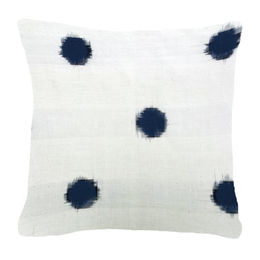 Navy-Blk Dots in White Pillow