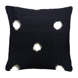 White Dots in Navy-Blk Pillow