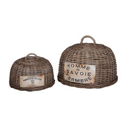 French Rattan Bread Covers-Set Of 2