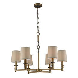 6- Light Chandelier In Brushed Antique Brass