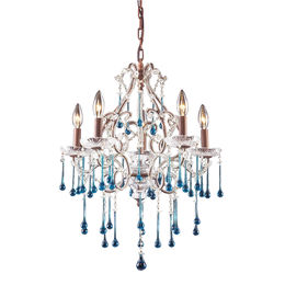 5 Light Chandelier In Rust And Aqua Crystal