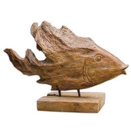 Uttermost Teak Fish Sculpture