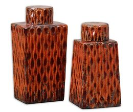 Uttermost Raisa Burnt Orange Containers, Set/2