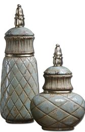 Uttermost Deniz Sea Foam Ceramic Containers S/2