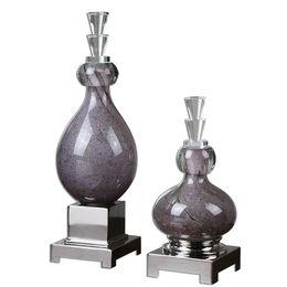 Uttermost Charoite Purple Glass Bottles S/2