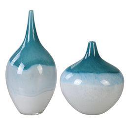 Uttermost Carla Teal White Vases, S/2