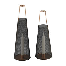 Dusk Candle Holders In Black And Copper - Set of 2