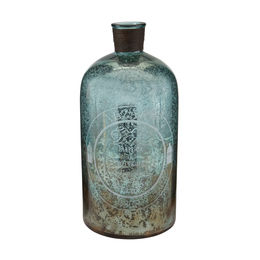 "18"" Aqua Antique Mercury Glass Bottle"