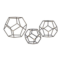 Set of 3 Geometric Orbs