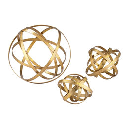 Set of 3 Open Structure Metal Orbs