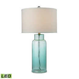 Glass Bottle Table Lamp in Seafoam Green