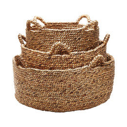 Natural Low Rise Baskets - Set of 3