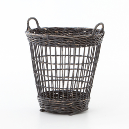WICKER HAMPER-BLACK DISTRESS