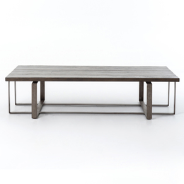 BRANT COFFEE TABLE-GREY OAK/RED OXIDIZED