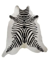 Black and White Guido Zebra Stencil Cowhide Rug