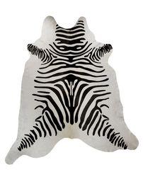 Black and White Guido Zebra Stencil Cowhide Rug