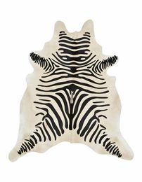Black and Beige Guido Zebra Stencil Cowhide Rug