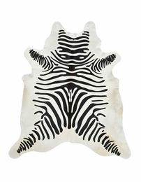 Black and Off-White Guido Zebra Stencil Cowhide Rug