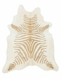 Caramel and Off-White Guido Zebra Stencil Cowhide Rug