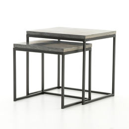 HARLOW NESTING END TABLES-BLUESTONE/GUNMETAL