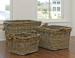 Rectangular Kubu Nesting Baskets, Set of 3