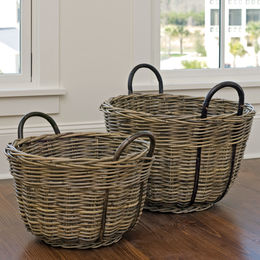 Round Kubu Nesting Baskets, Set of 2