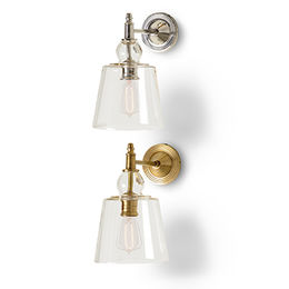 Sconce w/ Glass Shade Nickel