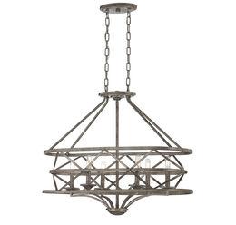 Rail 6 Light Oval Chandelier