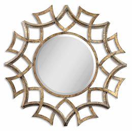 Demarco Round Antique Gold Mirror