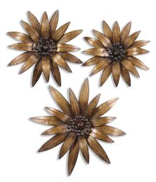 Uttermost Golden Gazanias Metal Wall Art, Set/3