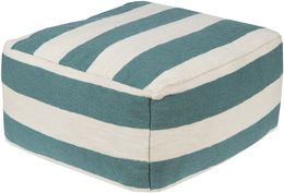 Teal & White Striped Pouf